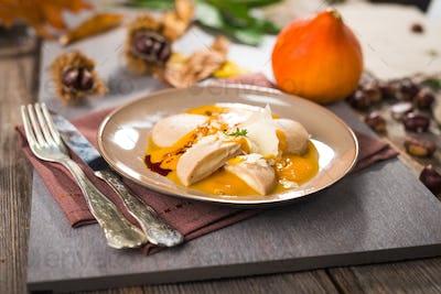 Chestnut gnocchi with pumpkin sauce