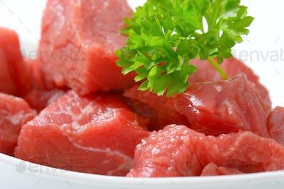 diced raw beef