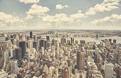 Retro toned aerial picture of New York City skyline.