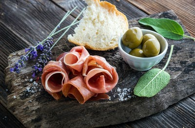 Prosciutto with olives