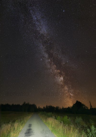 Summer Milky Way And Road