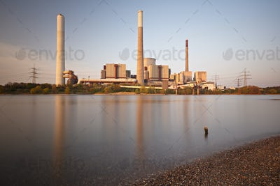 Power Station At River Long Exposure