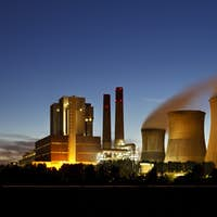 Lignite Power Station At Night