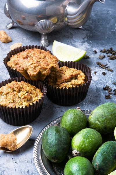 muffin with feijoa