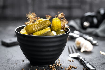 Pickled cucumbers, small marinated pickles, gherkins