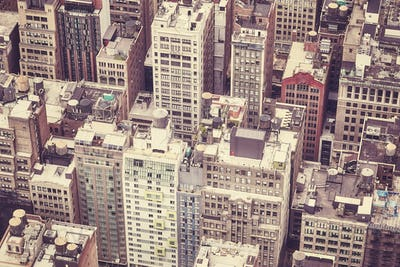 Vintage toned aerial picture of downtown New York.