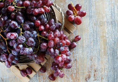 Grapes in a wooden box top view