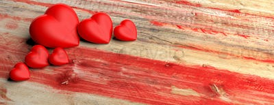 Red hearts on wooden background. 3d illustration