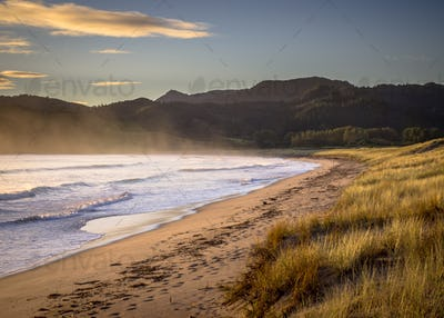 Ocean waves on the beach at Waikawau Bay New Zealand