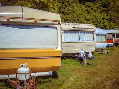 Vintage Caravans in a Row
