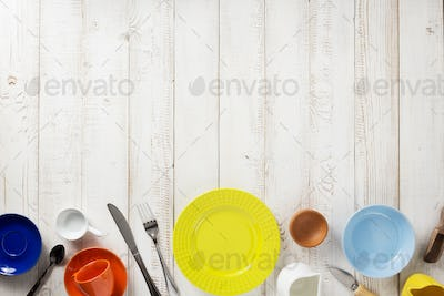 kitchenware and crockery at  wooden background