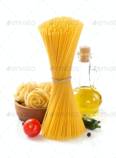 pasta and ingredients isolated at white