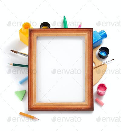 paint art supplies on white background