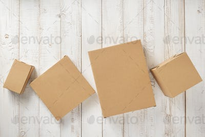cardboard box on wooden background