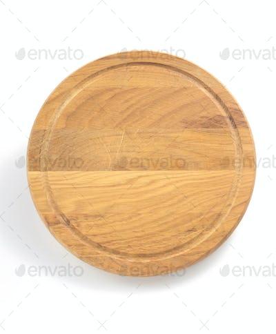 round cutting board on white