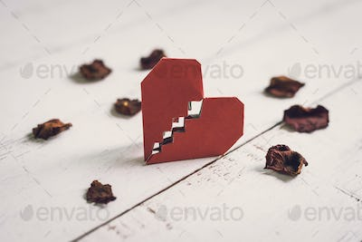 Red broken heart with dried rose petal