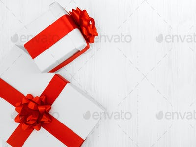 White gift boxes background