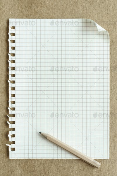 blank notepaper page on brown background