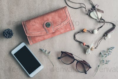 Fashion woman accessories isolated on color background