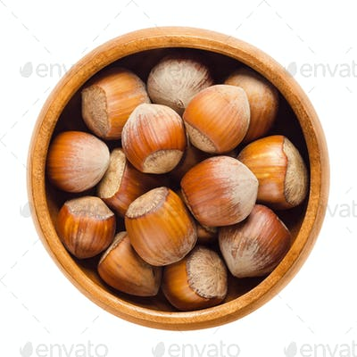 Cultivated hazelnuts in wooden bowl over white