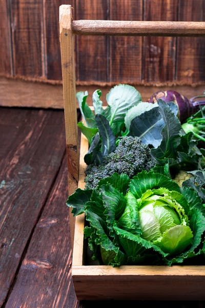 Variety of cabbages in wooden basket on brown background. Harvest. Close up.