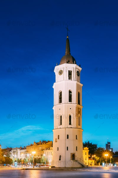 Vilnius, Lithuania. Evening Night View Of Bell Tower Belfry Of V