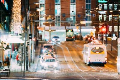 Defocused Blue Bokeh Boke Background Of Night Traffic In Street