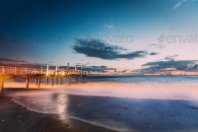 Fresh Sea Ocean Waves Washing Coast At Sunny Summer Evening