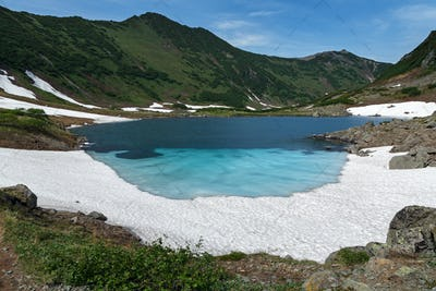 Summer Mountains of Kamchatka Peninsula - Blue Lake, Snow and Ice along Shores