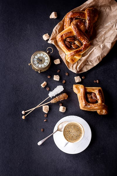 Pecan pastry with Coffee