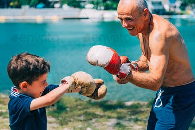 Boxing by the lake