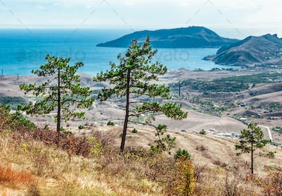 Mountain landscape background and sea