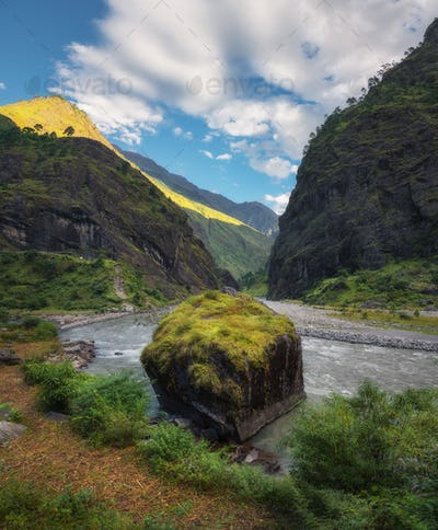 Amazing view with high Himalayan mountains, beautiful river, sto