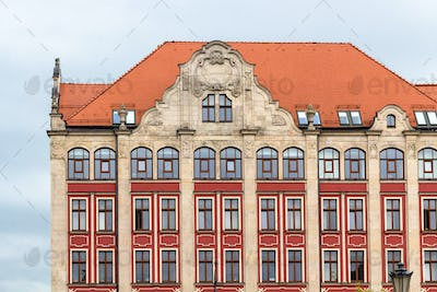 facade of old urban palace in Wroclaw city