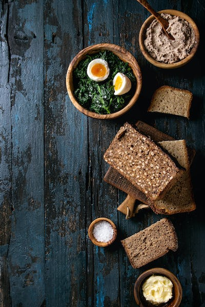 Breakfast with rye bread