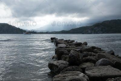 Stone pier on Phaselis bay