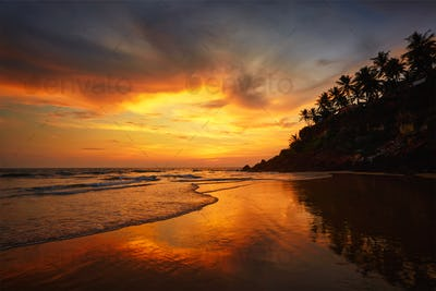 Sunset on Varkala beach, Kerala, India