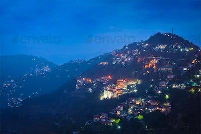 Night view of Shimla town, Himachal Pradesh, India