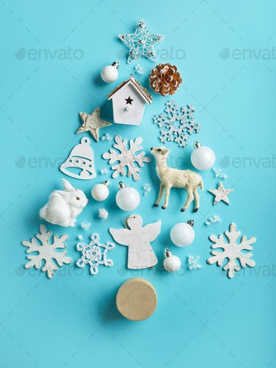 various Christmas decorations on blue background