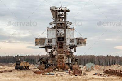 Broken big quarry excavator
