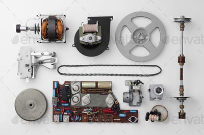 Parts of a vintage film projector