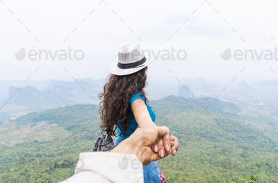 Man Hold Woman Hand, Tourist Couple With Backpack On Mountain Top Back Rear View Enjoy Beautiful