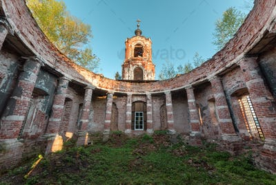Ruins rotunda of an abandoned brick orthodox church