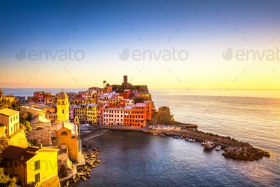 Vernazza village, panoramic view on sunset. Cinque Terre, Ligury