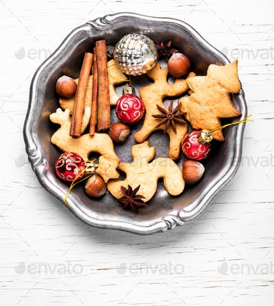 Christmas cookies and baubles