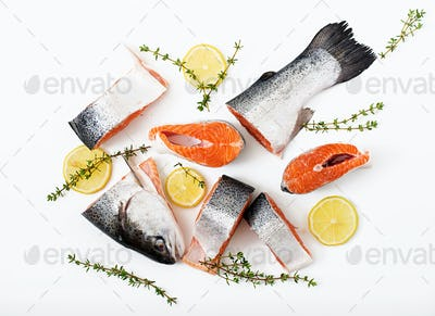 Fresh raw salmon  pieces red fish  isolated on a white background. Flat lay. Top view