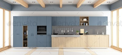Modern wooden and purple kitchen