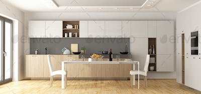 Modern wooden and white kitchen