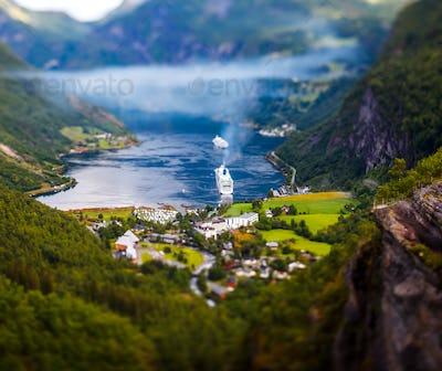 Geiranger fjord, Norway Tilt shift lens.
