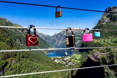 Geiranger fjord view point Lookout observation deck, Norway.